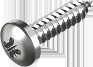 DIN 7981 Саморез А2 (PZ) по металлу с закругленной цилиндрической головкой