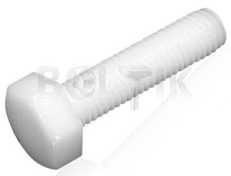 DIN 933 Болт пластиковый с шестигранной головкой (полиамид, белый)