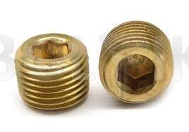 DIN 906 латунь -пробка (заглушка) с внутренним шестигранником
